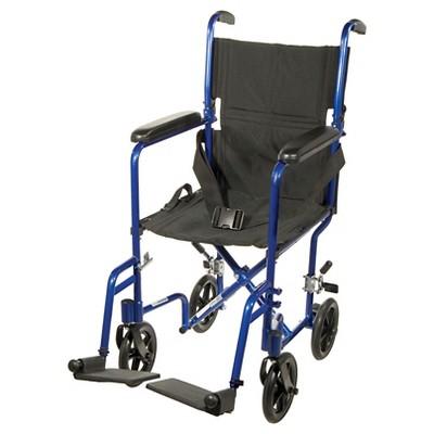 "Drive Medical Lightweight Transport Wheelchair, 17"" Seat, Blue"