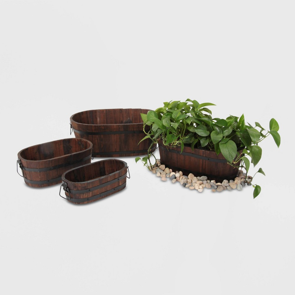 Image of 4pc Barrel Style Oval Wooden Planters Brown - Leisure Season