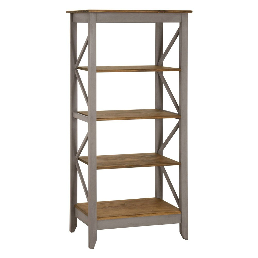 31.5 Jay Solid Wood Bookcase with 4 Shelves Wash Gray - Manhattan Comfort