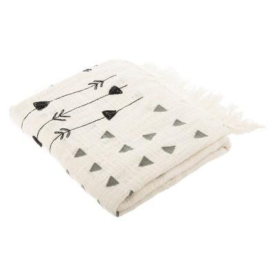 Penton Fringe Throw Blanket Gray/White - Safavieh