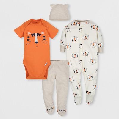 Gerber Baby Boys' 4pc Short Sleeve Bodysuit, Long Sleeve Sleeper Pants and Cap Set - Orange/White 6-9M