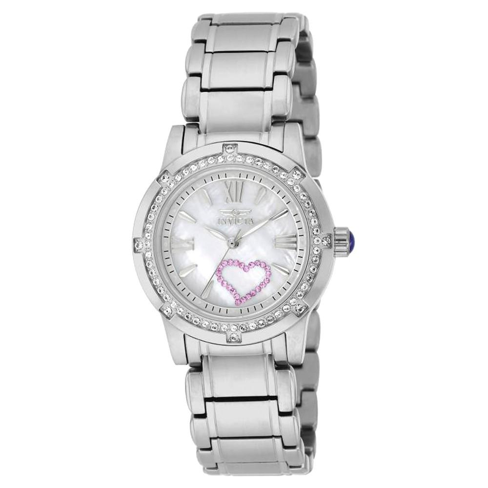Women's Invicta 18604 Angel Quartz 3 Hand White Dial Link Watch - Silver