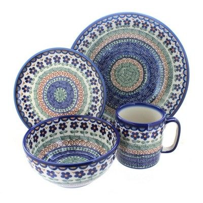 Blue Rose Polish Pottery Aztec Flower 16 Piece Dinner Set