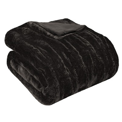 Black Ruched Faux Fur Throw (60 x50 )