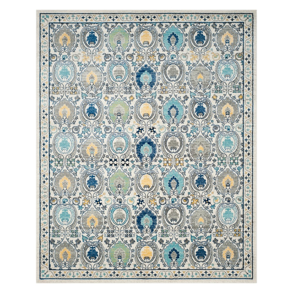 Medallion Area Rug Ivory/Gray