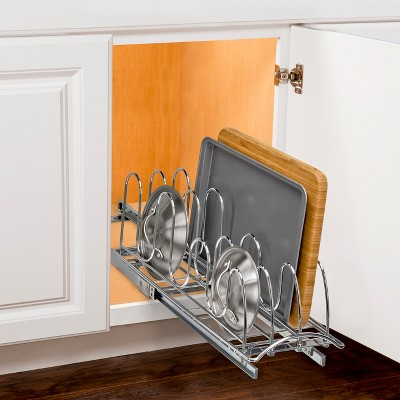 Lynk Professional Slide Out Pan Lid Holder   Pull Out Kitchen Cabinet  Organizer Rack