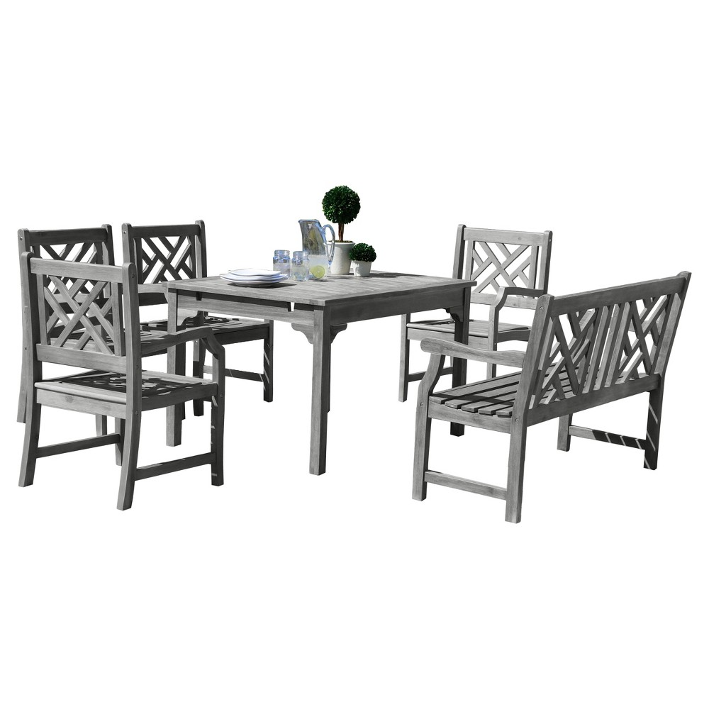 Vifah Renaissance Eco-friendly 6-Piece Outdoor Hand-scraped Dining Set with Rectangle Table, 4' Bench and Arm Chairs - Gray