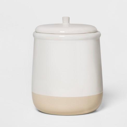 "6.2"" x 5"" Stoneware Lidded Jar Cream - Threshold™ - image 1 of 1"
