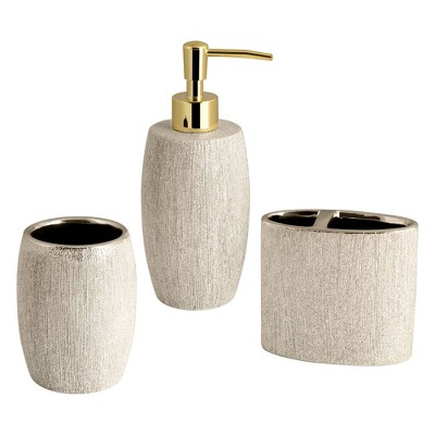 3pc Shimmer Lotion Pump/Toothbrush Holder/Tumbler Set Gold - Allure Home Creations