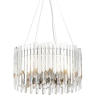 """Possini Euro Design Chrome Pendant Chandelier 24"""" Wide 6-Light Modern Crystal Drum Shade for Dining Room House Kitchen Entryway"""