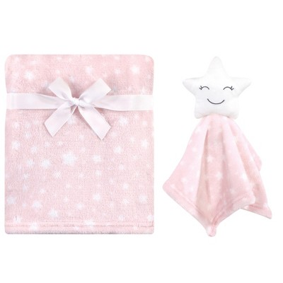 Hudson Baby Infant Girl Plush Blanket with Security Blanket, Star Girl, One Size