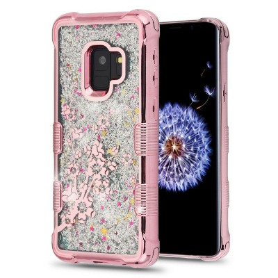 MyBat Tuff Quicksand Glitter Hard Plastic/Soft Spring Flowers TPU Rubber Case Cover For Samsung Galaxy