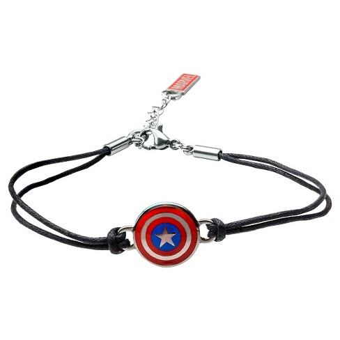 "Women's Marvel™ Captain America Shield Stainless Steel in Black Leather Cord Bracelet (7"" + 1"" ext.) - image 1 of 1"
