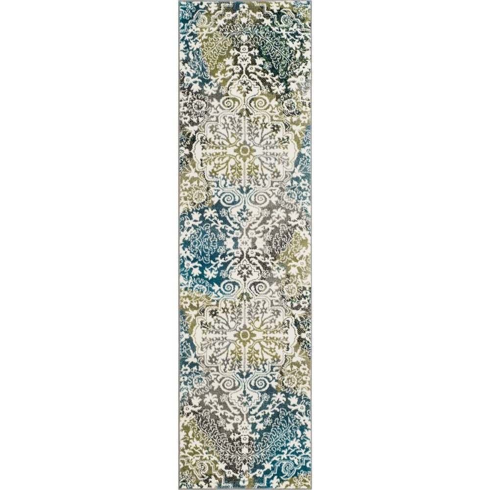 Medallion Loomed Runner Ivory/Peacock