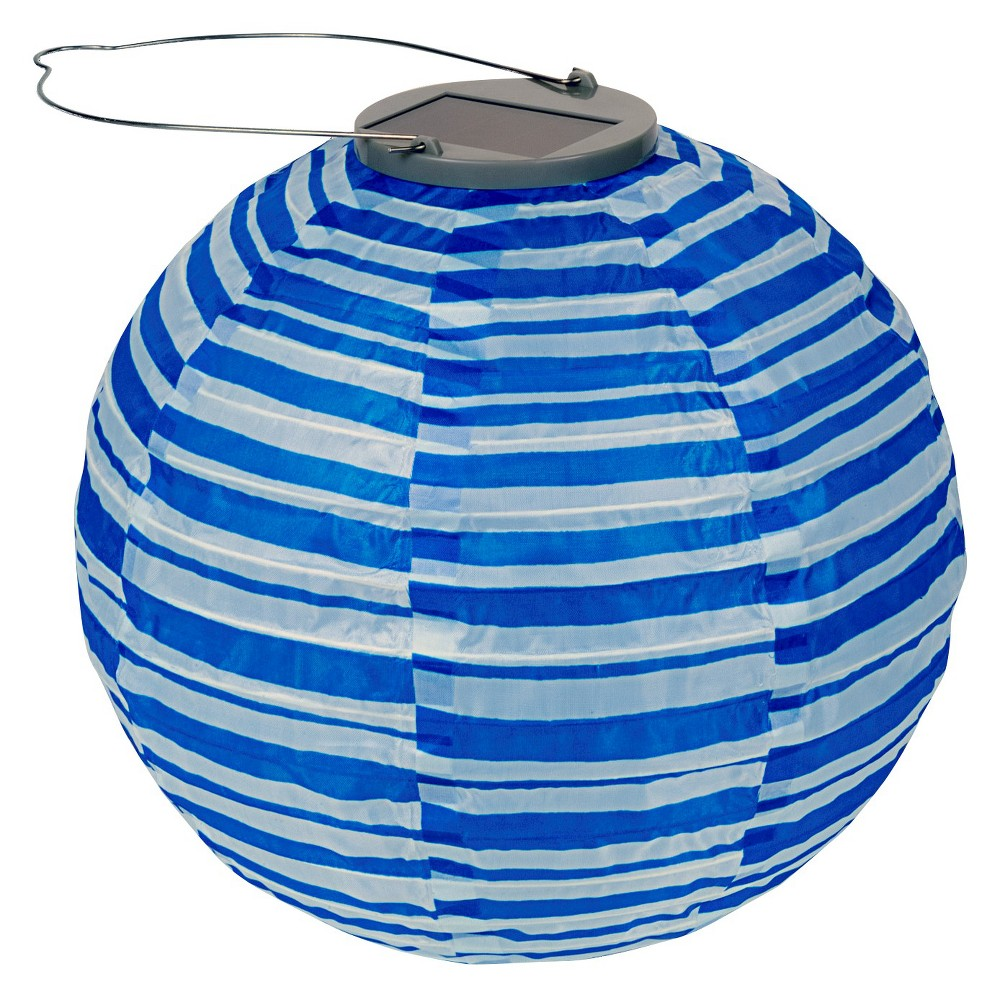 "Image of ""10"""" GLOW Solar LED Outdoor Lantern Blue Stripe, Blue Streak"""
