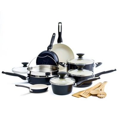 GreenPan Rio 16pc Cookware Set Black