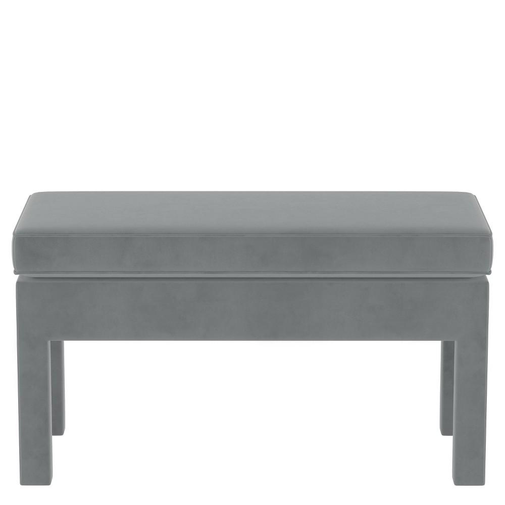 Upholstered Bench in Velvet Steel Gray - Threshold