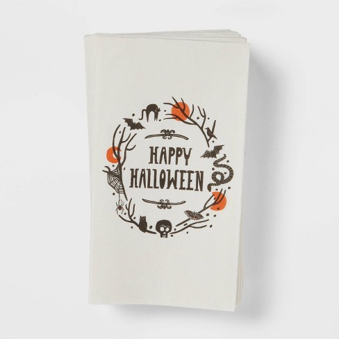 16ct Paper Happy Halloween Disposable Disposable Guest Towels  - Threshold™ - image 1 of 3