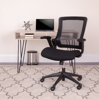 Flash Furniture Mid-Back Black Mesh Executive Swivel Office Chair with Molded Foam Seat and Adjustable Arms