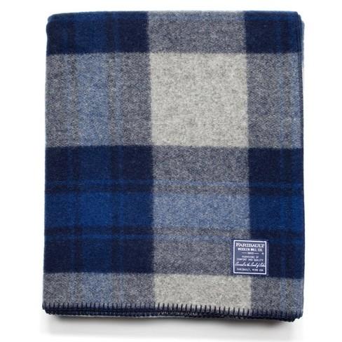 Defender Bed Blanket Blue Plaid - Faribault Woolen Mill - image 1 of 3