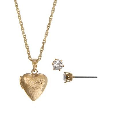 FAO Schwarz Heart Locket Necklace and Stud Earring Set