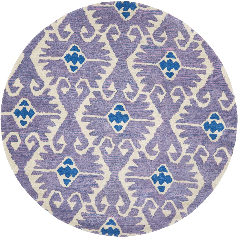 5' Tribal Design Tufted Round Area Rug Lavender/Ivory (Purple/Ivory) - Safavieh