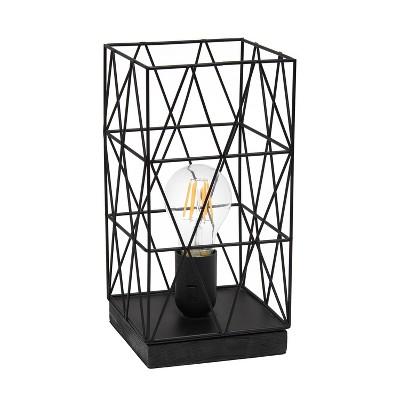 Metal Geometric Square Table Lamp Black - Simple Designs