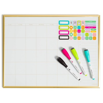 "12""x16"" Dry Erase Calendar Board Value Pack Gold Frame - U Brands"