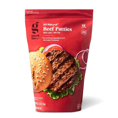 All Natural 85/15 Beef Patties - Frozen - 3lbs - Good & Gather™