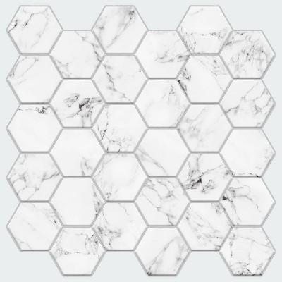 RoomMates Carrara Marble Hexagon Peel And Stick Backsplash