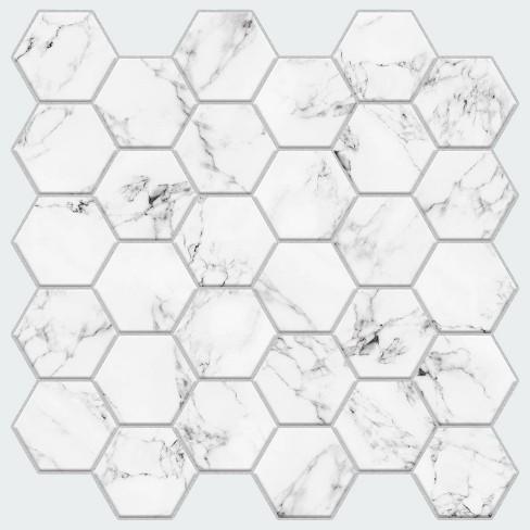 RoomMates Carrara Marble Hexagon Peel And Stick Backsplash - image 1 of 4