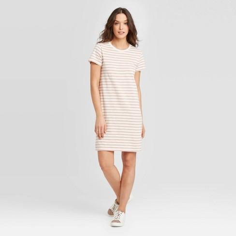 Women's Striped Short Sleeve T-Shirt Dress - Universal Thread™ Cream M