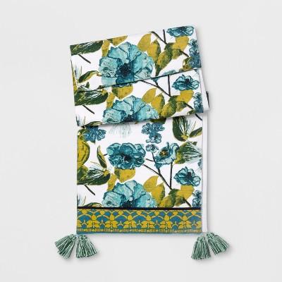 Blue/Green Floral Tasseled Table Runner - Opalhouse™