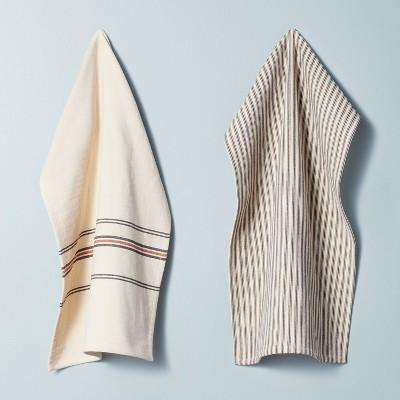 2pk Striped Kitchen Towel Set Natural/Railroad Gray - Hearth & Hand™ with Magnolia