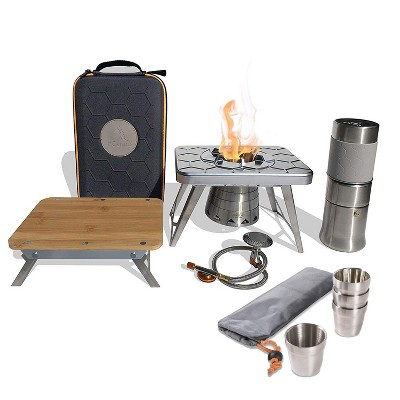nCamp K2G 5 Piece Stove, Prep Surface, Adapter, Cafe & Case Camping Set with Basic 4 Pack 6 Oz Stainless Steel Stackable Cups Camping Set w/ Carry Bag