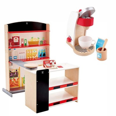 Hape Pop Up Grocery Shop Pretend Play Set Bundle with My Coffee Machine Kids Wooden Pretend Kitchen Coffee Maker with Accessories, Ages 3 and Up