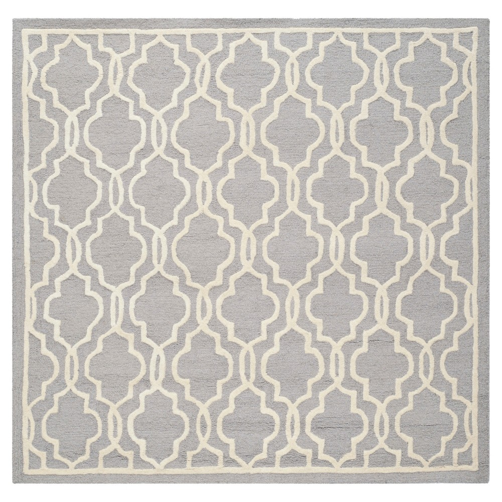 Langley Textured Rug - Silver / Ivory (6' X 6' Square) - Safavieh, Silver/Ivory