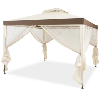 10'x 10' 2-tier Canopy Gazebo Tent Outdoor Netting Picnic Party Sun Shade