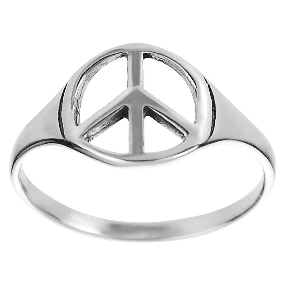 Women's Tressa Collection Peace Sign Ring in Sterling Silver - Silver (9)