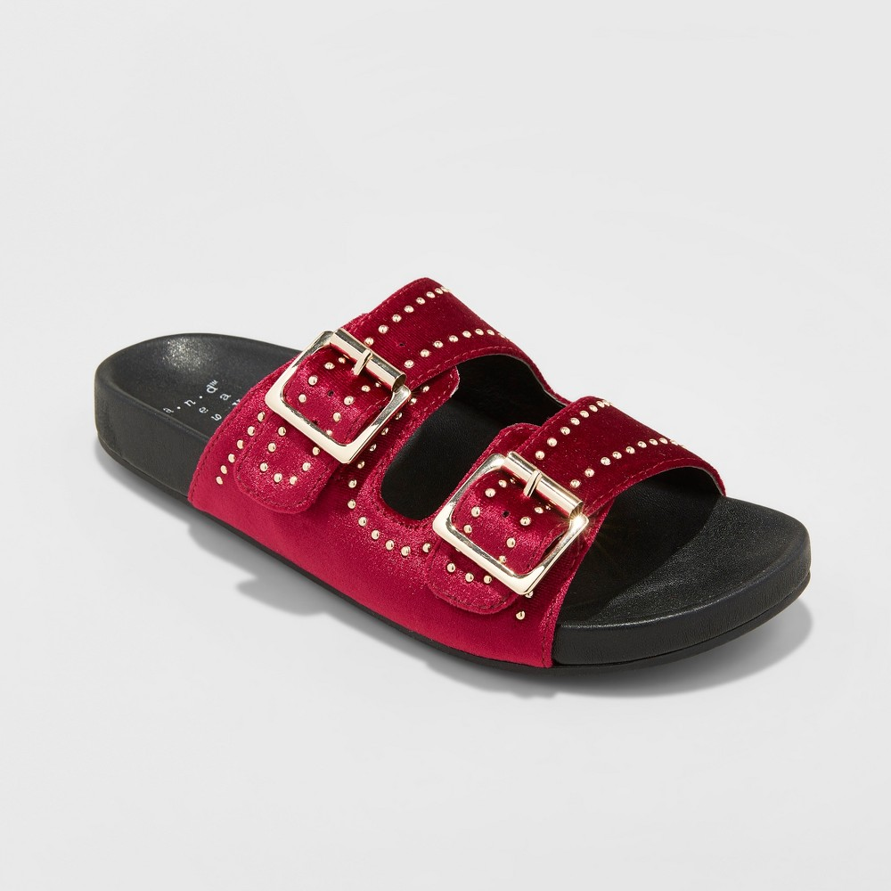 Women's Mags Velvet Pin Stud Two Buckle Slide Sandals - A New Day Burgundian wine 6