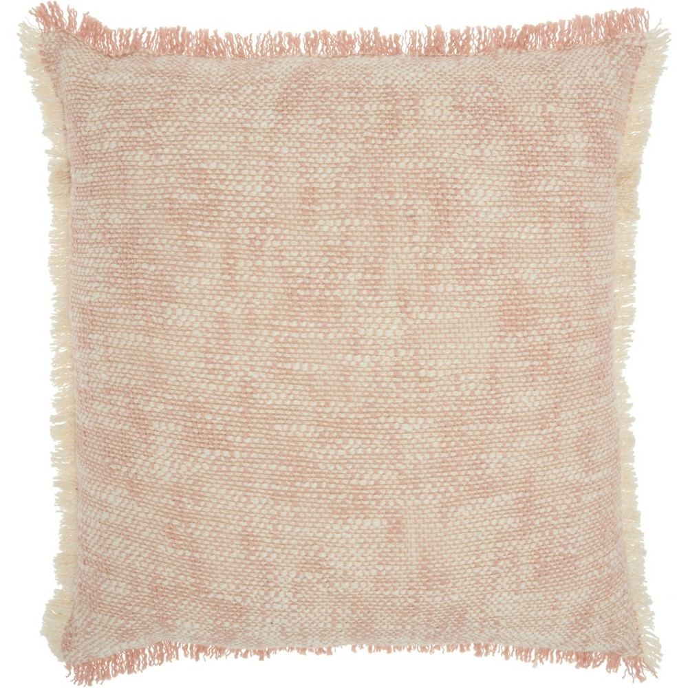 Image of Life Styles Woven Fringe Throw Pillow Blush - Nourison