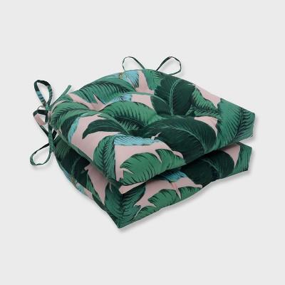 2pk Swaying Palms Reversible Outdoor Chair Pad Capri Blue - Pillow Perfect