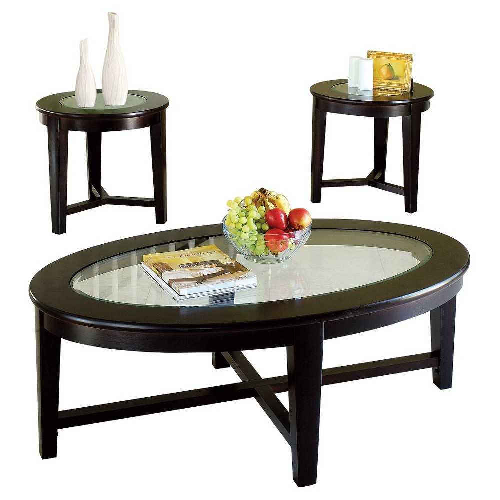 Image of 3 Piece Kort Pack Coffee End Table Set Espresso (Brown) - Acme