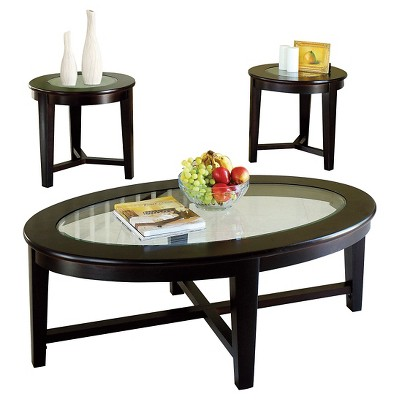 Delicieux 3 Piece Kort Pack Coffee End Table Set Espresso   ACME