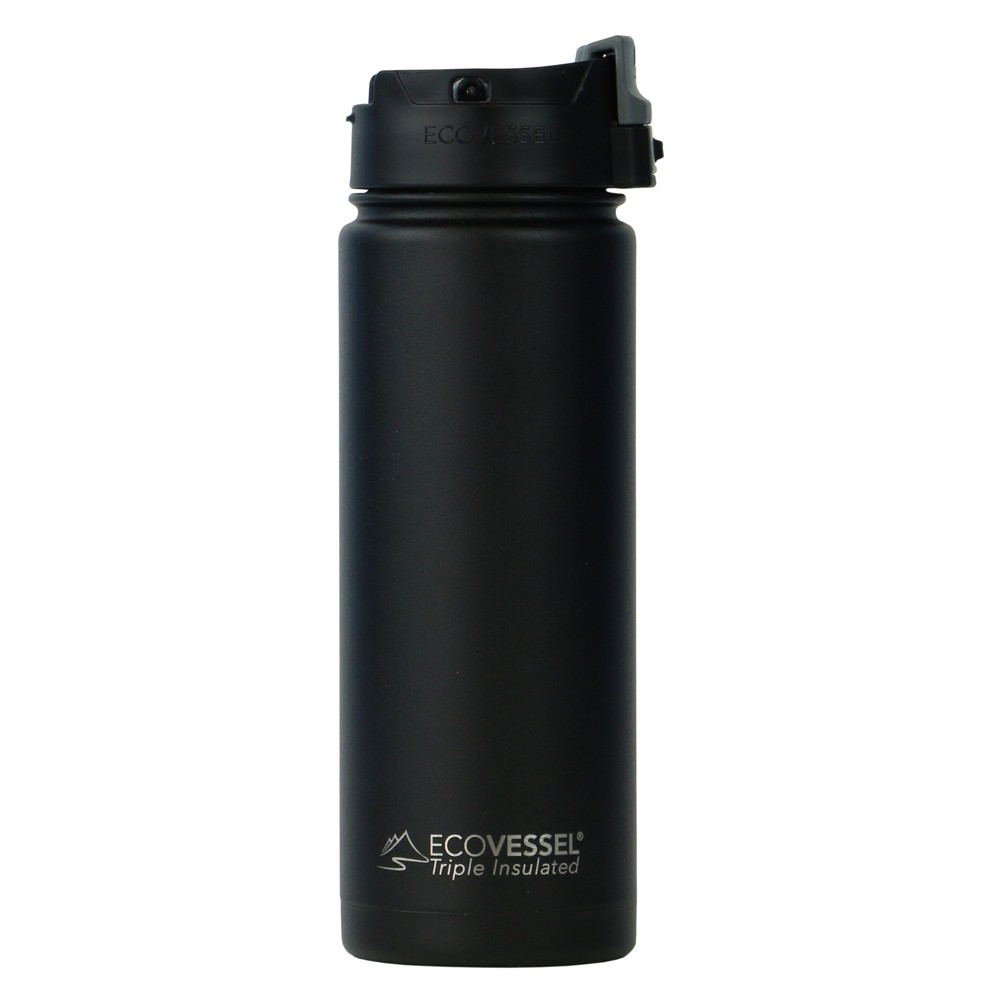 EcoVessel Perk 20oz (600ml) TriMax Triple Insulated BPA Free Bottle with Push-Button Flip Lid - Black