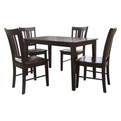 Set of 5 30''x48'' Solid Wood Top Table with 4 San Remo Chairs Dark Brown - International Concepts