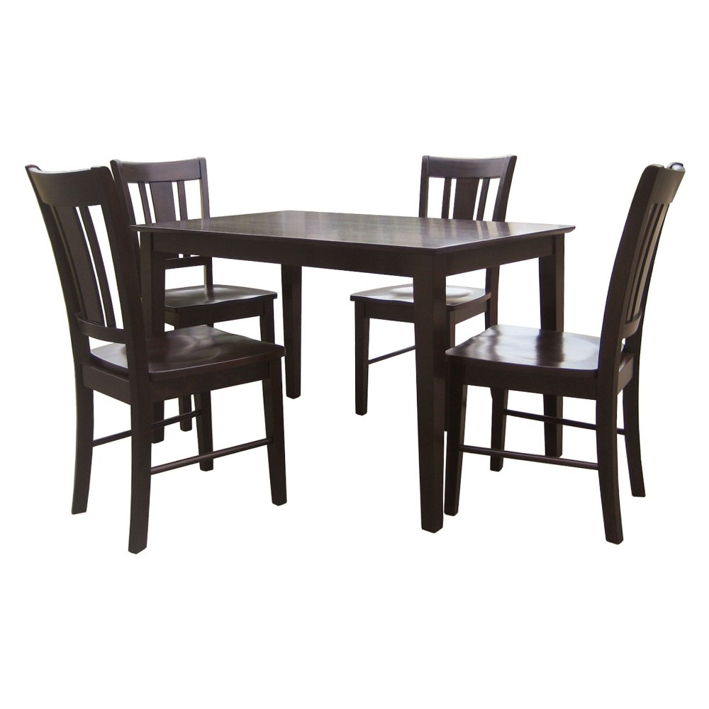 30' X 48' Set of 5 Solid Wood Top Table with 4 San Remo Chairs Dark Brown - International Concepts