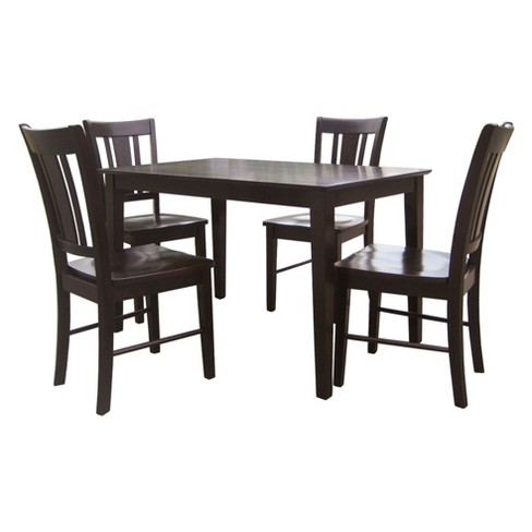 Brilliant 30 X 48 Set Of 5 Solid Wood Top Table With 4 San Remo Chairs Dark Brown International Concepts Creativecarmelina Interior Chair Design Creativecarmelinacom