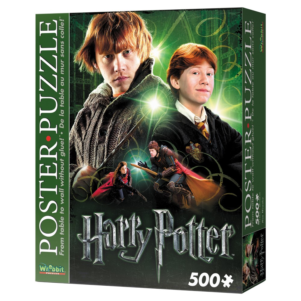 Wrebbit Ron Weasley Poster Puzzle 500pc Assemble this exclusive Harry Potter foam-backed 500-piece puzzle and convert it into an actual poster of your favorite characters from J.K. Rowling's Wizarding World! Thanks to snug tight-fitting pieces, Wrebbit's poster-puzzles can be lifted up and pinned to the wall. Take it ''From table to wall without glue!'' Features younger and older Ron Weasley and also Ron and his sister Jinny in action playing Quidditch. Finished size is approximately 19 inches x 26 inches. Suitable for ages 12 and up. Warning: Choking Hazard - Small parts. Not for children under 3 yrs. Gender: Unisex.