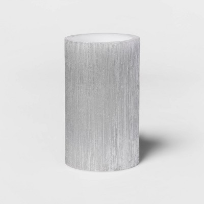 """5""""x 3"""" LED Unscented Metallic Silver Pillar Candle - Threshold™"""